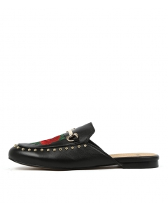 GROVER BLACK RED EMBROIDERY LEATHER