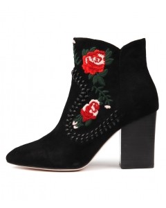 MANDA BLACK RED SUEDE EMBROIDERY